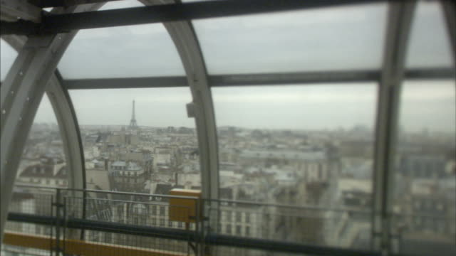 ms pan paris skyline from pompidou centre viewing platform, france - floating moored platform stock videos & royalty-free footage