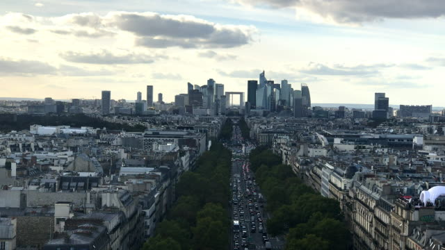 paris skyline - avenue des champs elysees stock videos & royalty-free footage