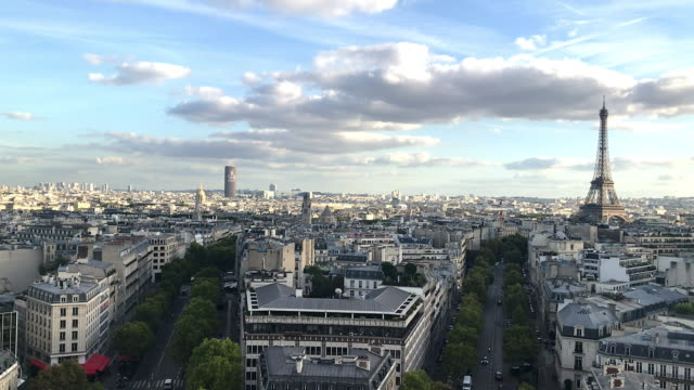 paris skyline - panoramic stock videos & royalty-free footage