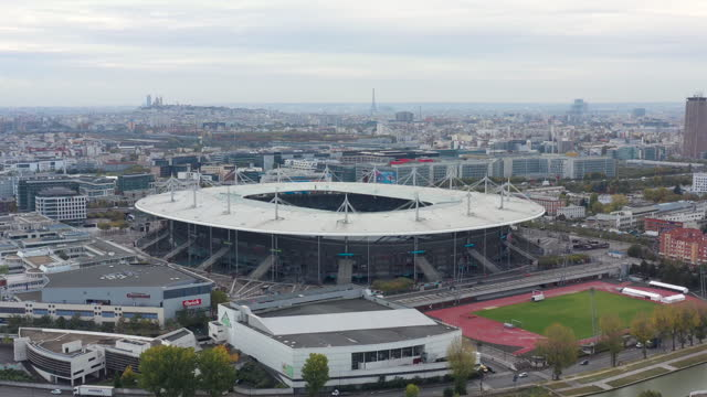 paris, stade de france, drone aerial view - basilica stock videos & royalty-free footage