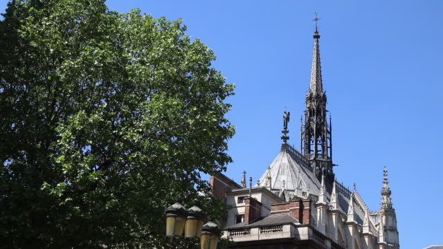 paris, steeple of the holy chapel, island of the city - steeple stock videos & royalty-free footage