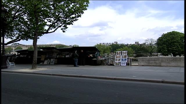 pov of paris street along the seine from a car - anno 2002 video stock e b–roll