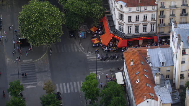 paris streets and houses aerial view - french restaurant stock videos & royalty-free footage