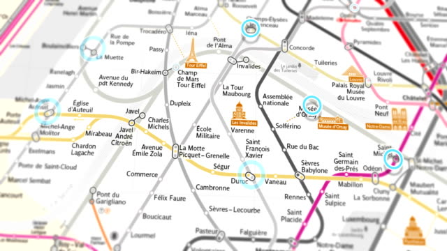 paris subway map localization - seamless 4k loop - underground rail stock videos & royalty-free footage