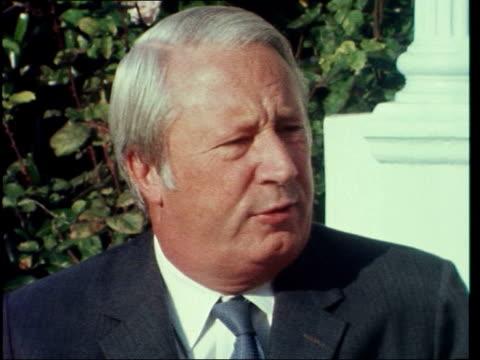 edward heath attends common market talks:; a: france: paris: ext edward heath: sof: 'what i understand.....................................all laid... - edward heath stock-videos und b-roll-filmmaterial