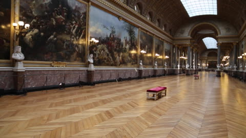 paris, the gallery of the battles in chateau de versailles - museum stock videos & royalty-free footage