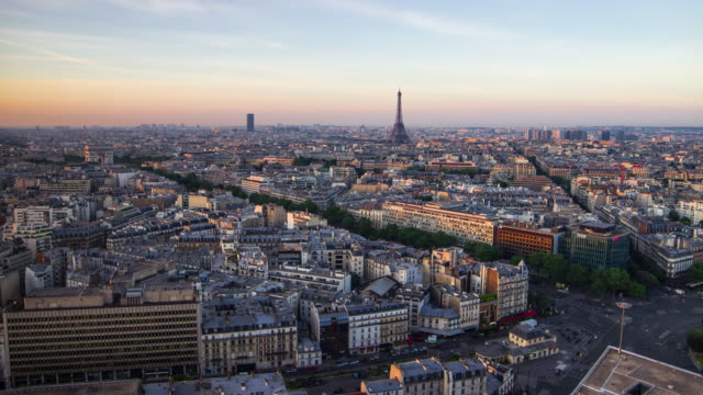 paris time-lapse - day to night stock videos & royalty-free footage