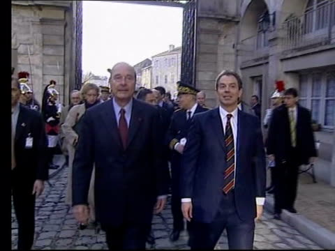 paris: tony blair mp towards with french president jacques chirac tony blair shaking hands with crowd as french prime minister lionel jospin beside - lionel blair stock videos & royalty-free footage