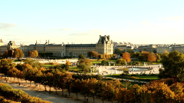 paris tuileries view - louvre stock videos and b-roll footage