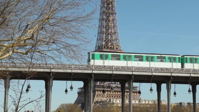 paris, view of aerial metro - pont de bir hakeim stock videos & royalty-free footage