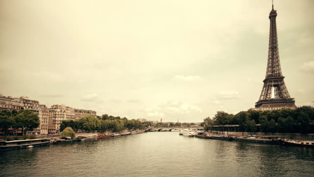 paris view with eiffel tower and river seine - eiffel tower stock videos and b-roll footage
