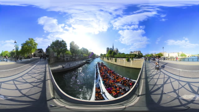 Paris, VR360 of Notre Dame Cathedral and seine river