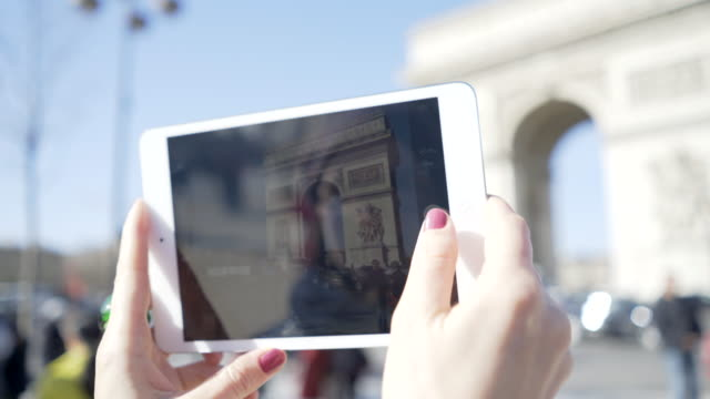 paris, winter breaks and the arc de triomphe. - red nail polish stock videos and b-roll footage