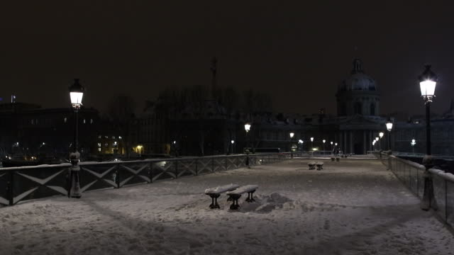 paris with snow at night, 2018, pont des arts - 30 seconds or greater stock videos & royalty-free footage