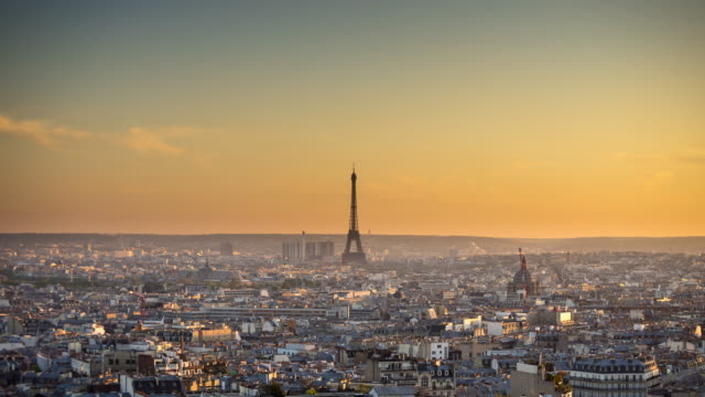 Parisian Cityscape at Sunset
