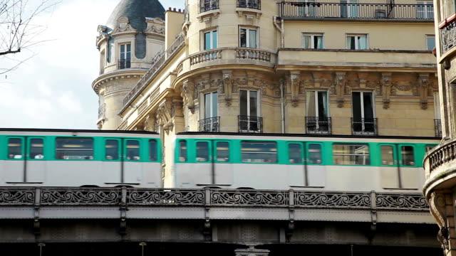 Parisian french subway on the bridge
