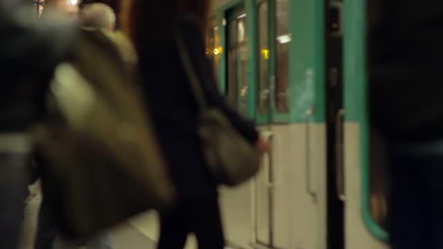 parisian metro, winter - underground station platform stock videos & royalty-free footage