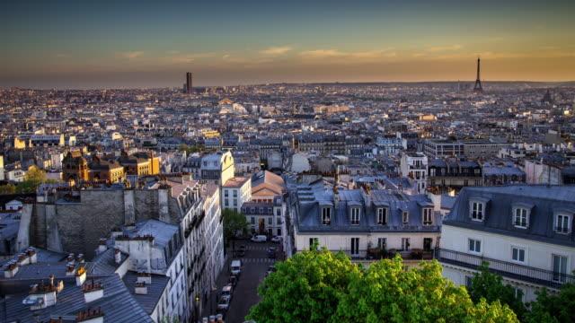 parisian sunset time lapse - 昼から夜点の映像素材/bロール