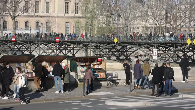 parisians cycle and walk on the seine river banks without social distancing on march 20, 2021 in paris, france. a third lockdown in certain areas of... - illustration stock videos & royalty-free footage