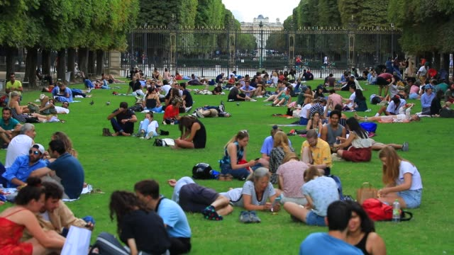 parisians enjoy the jardin du luxembourg during the summer season on july 26, 2020 in paris, france. a heat wave is expected over the whole of france... - july stock videos & royalty-free footage