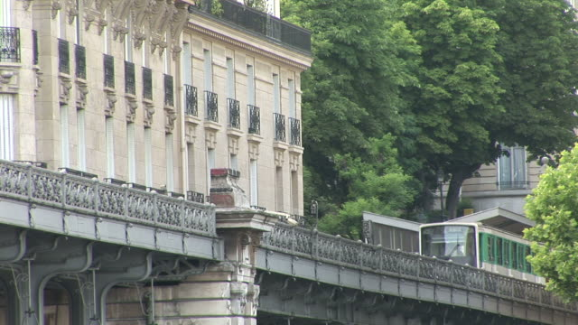 ParisMetro train crossing Bir Hakeim bridge in Paris France