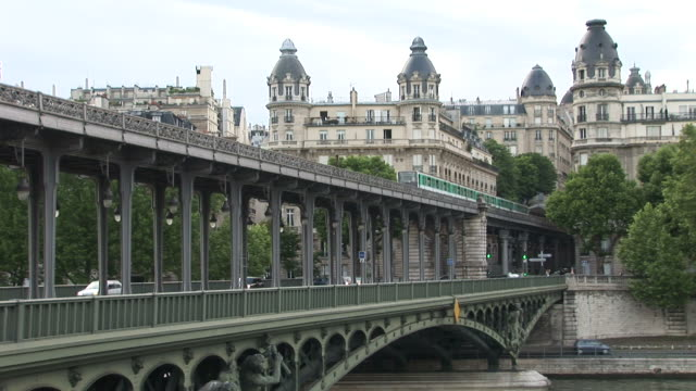 ParisMetro train on Bir Hakeim bridge in Paris France