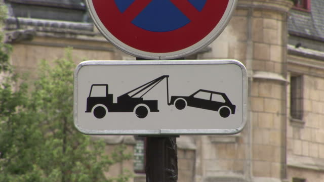 parisno parking signboard in paris france - no parking sign stock videos & royalty-free footage