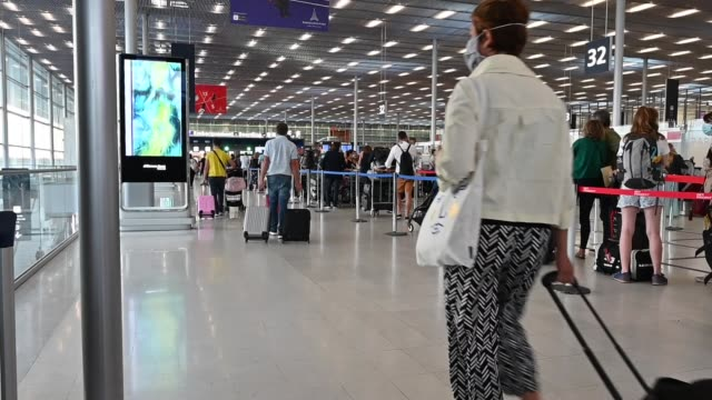 paris-orly international airport is located 10 km south of paris. the airport is managed by the adp group, in orly, on august 9, 2020. - kilometre stock videos & royalty-free footage