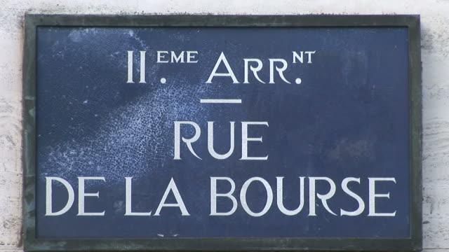 ParisRUE DE LA BOURSE signboard in Paris France