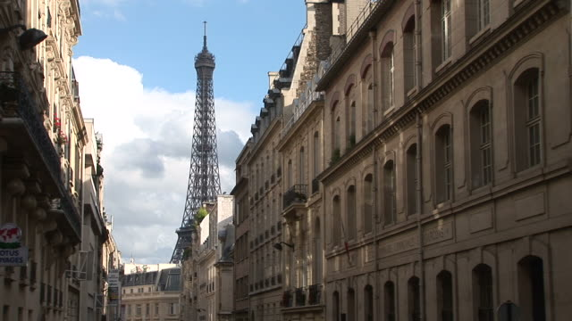 ParisView of Eiffel Tower from a City Street in Paris France