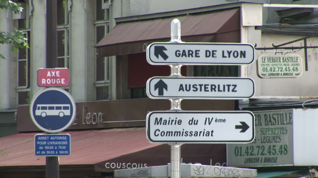 ParisView of signboards in Paris France