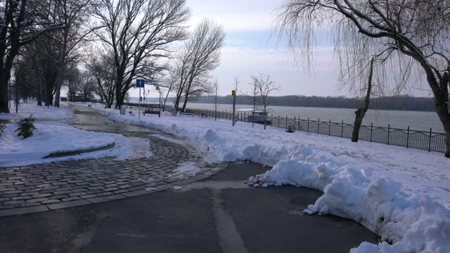 park alleys covered with snow alongside the river danube - pavel gospodinov stock videos & royalty-free footage