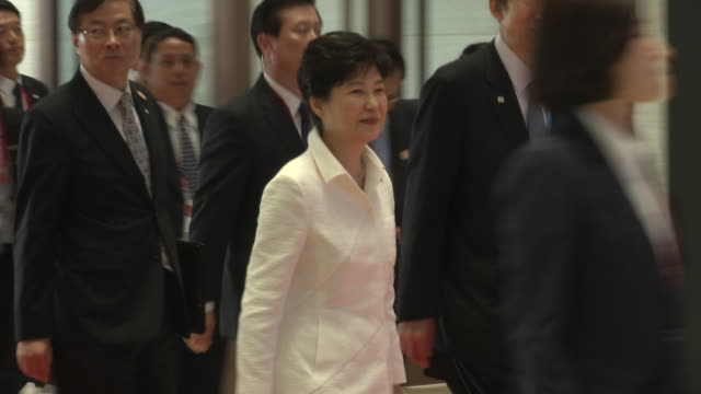 park geunhye president of south korea arrives at the association of southeast asian nations summit the laotian capital vientiane - association of southeast asian nations stock videos & royalty-free footage