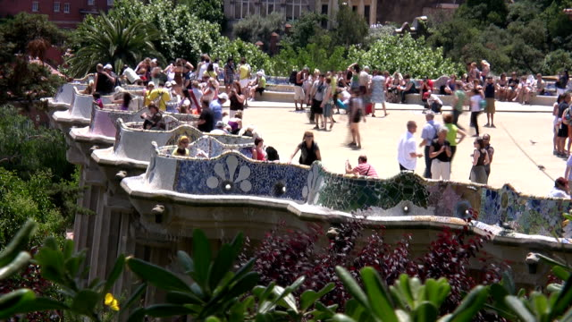 park guel in barcelona - gothic style stock videos & royalty-free footage
