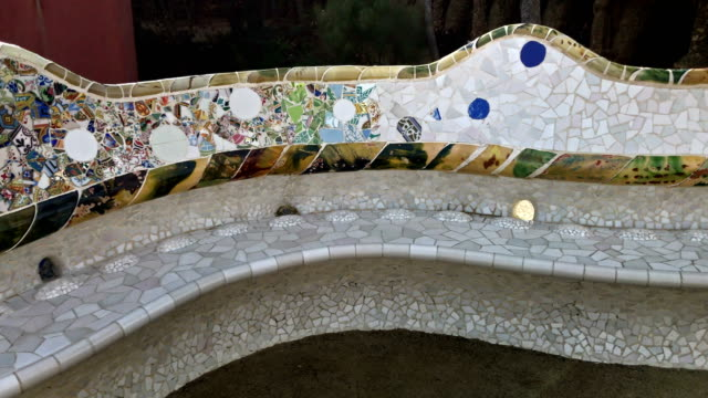 park guell bench in barcelona - mosaic stock videos and b-roll footage