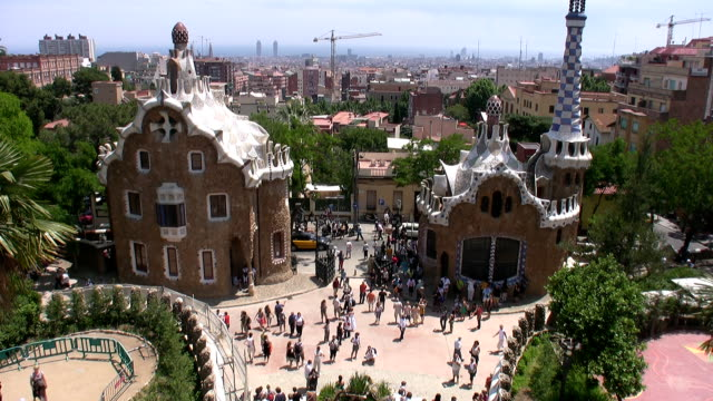 park guell in barcelona - gothic style stock videos & royalty-free footage