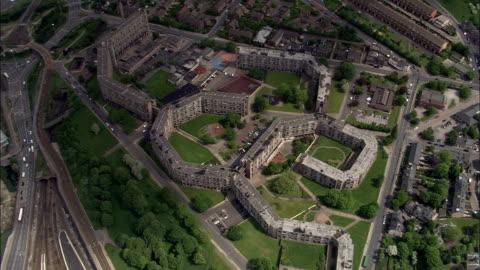 park hill, sheffield  - aerial view - england, sheffield, united kingdom - sheffield stock videos & royalty-free footage