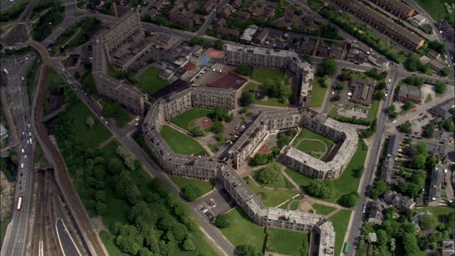 park hill, sheffield  - aerial view - england, sheffield, united kingdom - sheffield stock videos and b-roll footage