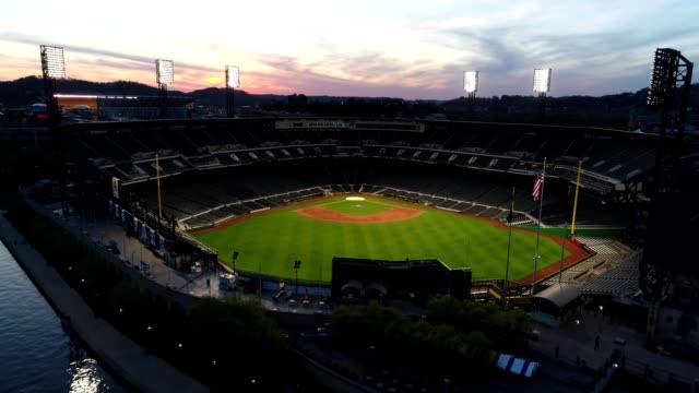 pnc park illuminated at sunset - baseball diamond stock videos and b-roll footage