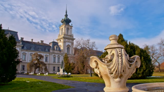 ds park in front of the festetics palace - stately home stock videos & royalty-free footage