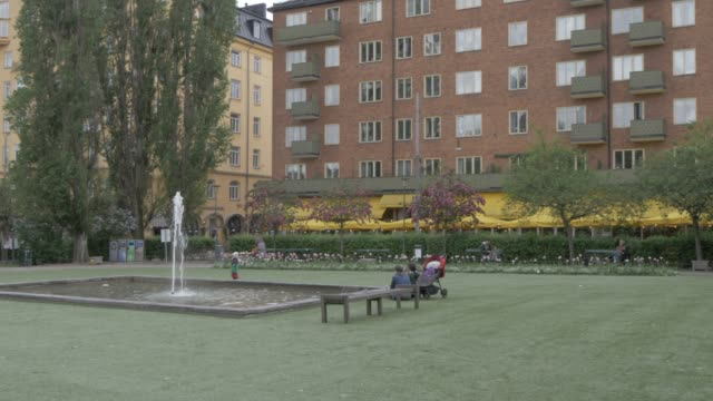 park in sofo area sodermalm district, stockholm, sweden, scandinavia, europe - fountain stock videos & royalty-free footage
