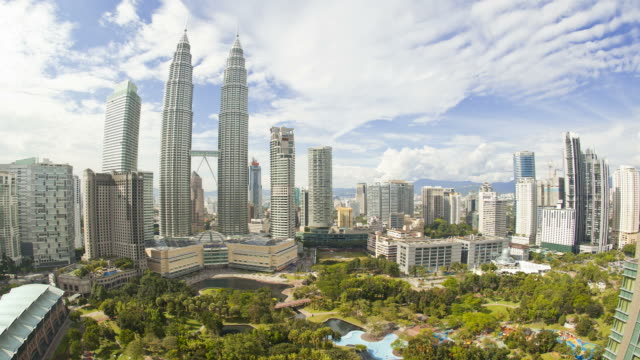 KLCC Park provides green space close to the Petronas Twin Towers in the Kuala Lumpur City Centre.