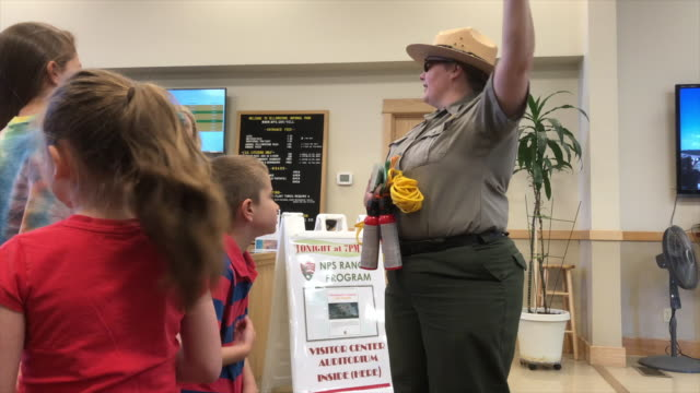 Park ranger give education to tourists at Yellowstone national park