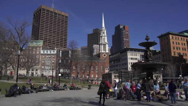 park street church and boston commons - boston massachusetts stock videos & royalty-free footage