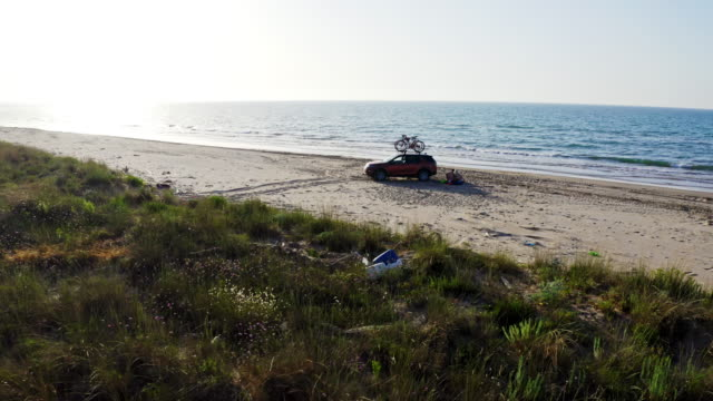 ws suv parked on sunny remote sea beach, gargano national park, italy - rastrelliera video stock e b–roll