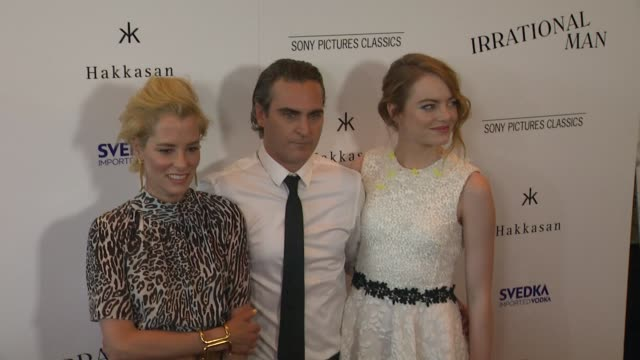 Parker Posey Joaquin Phoenix and Emma Stone at the 'Irrational Man' Los Angeles Premiere at The WGA Theater on July 09 2015 in Beverly Hills...