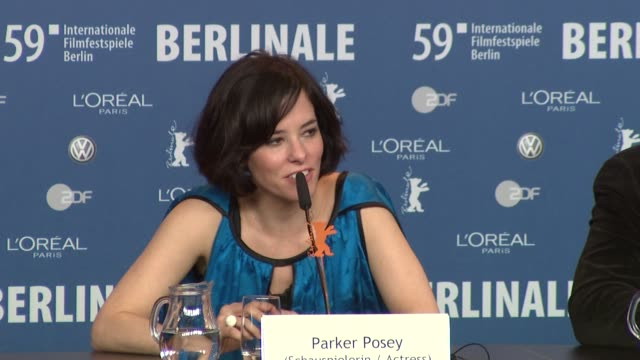 parker posey on her 'happy tears' moment at the 59th berlin film festival: happy tears press conference at berlin . - parker posey stock videos & royalty-free footage