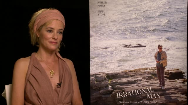 parker posey on meeting woody allen 20 years ago and being cast now & on the character choices she made for rita at the 'irrational man' junket on... - parker posey stock videos & royalty-free footage