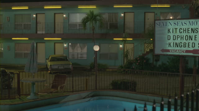 parking lot and the swimming pool area of the seven seas motel in miami at night. - motel stock videos and b-roll footage