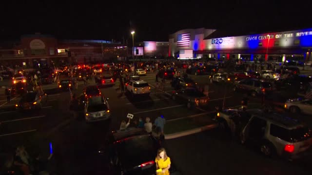 parking lot of vehicles flashing four way signals seen outside the chase center in wilmington after former vice president joe biden delivered address... - political rally stock videos & royalty-free footage